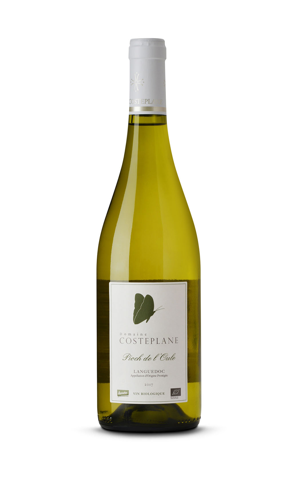 Photo bouteille de vin blanc